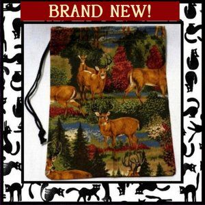 Wild Deer Fabric Drawstring Storage Bag